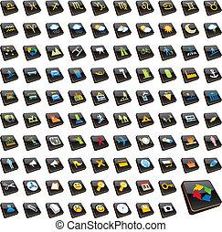 百, 十分に, editable, ベクトル, 網アイコン
