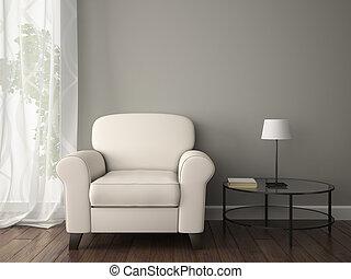的部分, 内部, 带, 白的armchair
