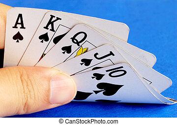皇家的奔流, 从, the, 扑克牌, 卡片