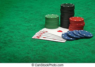 皇家的奔流, 带, 赌博芯片, 结束, 绿色感到