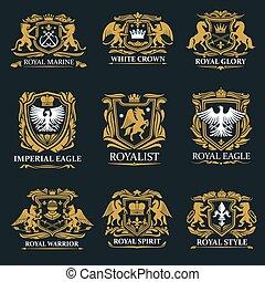 皇族, 腕, コート, 王冠, 紋章学