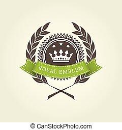 皇族, 花輪, 紋章, テンプレート, 月桂樹