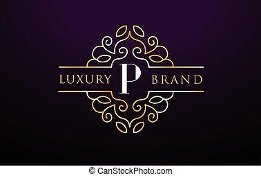皇族, luxury., monogram, p, ロゴ, 手紙, デザイン