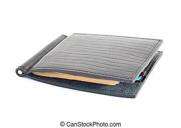 皮夹子, 真皮, 钱, 隔离, 信用, 黑色的背景, 卡片, 白色