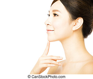 皮膚, 新たに, きれいにしなさい, 美しい額面, 女, 若い