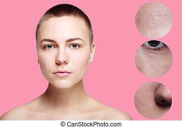 皮膚, 美しさ, 若い女性, before.and.after, ∥, プロシージャ