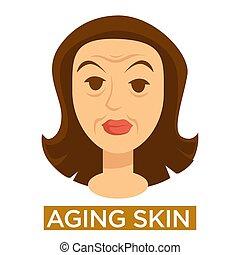 皮膚, 老化, 終わり, 女性の額面, サイン, の上