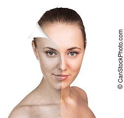 皮膚, concept., 女, 若い, 心配