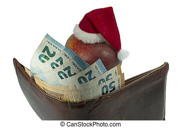 皮革皮夾子, 帽子, 現金, 聖誕節