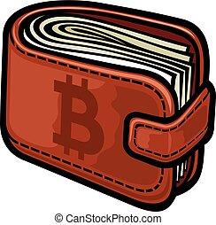 皮革皮夾子, 由于, bitcoin, 簽署, 矢量, 插圖