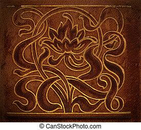 皮革, 植物, decoration., motive.