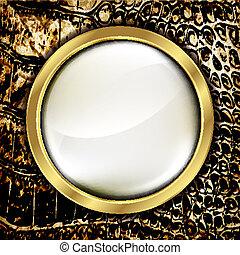 皮革, 背景, 由于, 黃金, elements., vector.