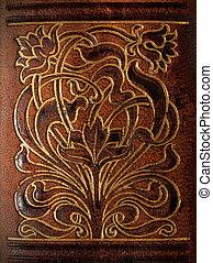皮革, 裝飾, pattern., 植物