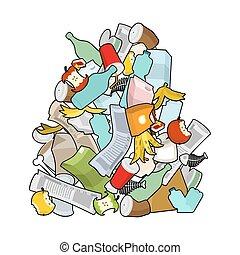 皮, ごみ, 新聞。, 積み重ね, stub., 骨, バックグラウンド。, 山, isolated., 古い, 錫, ...