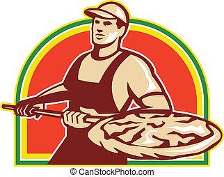 皮, パン屋, パイ, レトロ, 保有物ピザ