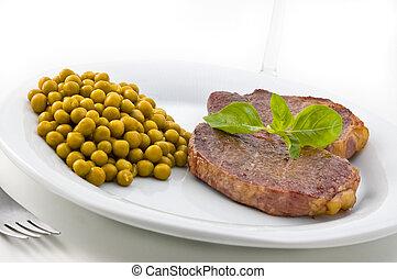 皿, の, 肉, そして, エンドウ豆, ∥で∥, basil.
