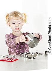 皿, わずかしか, 遊び, 女の子, 子供