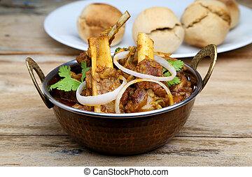 皿, スタイル, マトン, indian, ∥あるいは∥, 肉, カレー