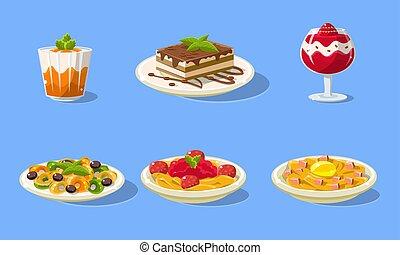 皿, セット, 食物, イラスト, デザート, ベクトル, 味が良い, おいしい, 本