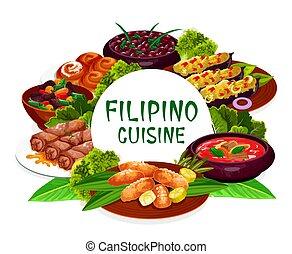 皿, ラウンド, フレーム, 料理, フィリピン人