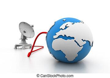皿, 地球, 人工衛星, 接続される