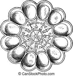 皿, engraving., hildesheim), 卵, (treasure, 銀, 型