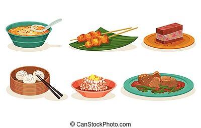 皿, malaysian, セット, ベクトル, 料理, 食事
