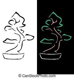 盆栽, 抽象的, 図画