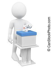 盒子, 他的, 人们。, 纸, 放, 白色, 人, 选票, 3d