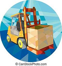 盒子, 多边形, 铲车, 材料, 卡车, 低, 环绕
