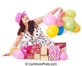 盒子, 妇女, 礼物, 生日, 握住, 政党。