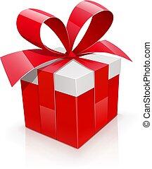 盒子, 礼物, 红, bow.