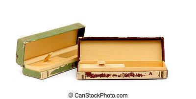 盒子, 老, 观看, 隔离, 背景, 白色, 打开