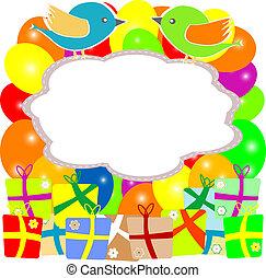 盒子, 鸟, 礼物, valentine, 花, 卡片