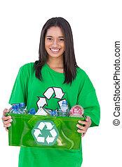 盒子, enivromental, 激进主义分子, 握住, recyclables
