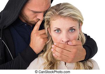 盗み, カバー, 若い, 女性, 口