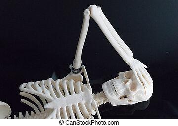 盘子, 反映, 放置, 担心, 黑色, 骨骼