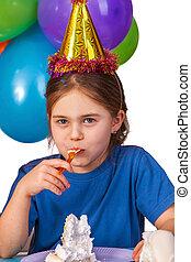 盘子。, 孩子, 生日聚会, 蛋糕, 吃, 庆祝