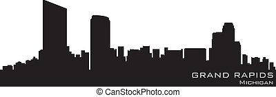 盛大, 急流, 密執安, skyline., 詳細, 矢量, 黑色半面畫像