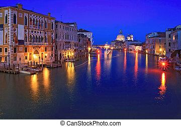 盛大, canel, 威尼斯, 夜晚
