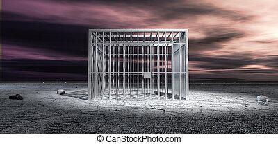 監獄細胞, 被鎖, 在, 不結果實的風景