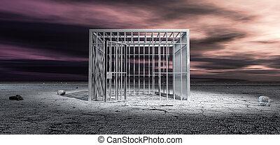 監獄細胞, 開鎖, 在, 不結果實的風景