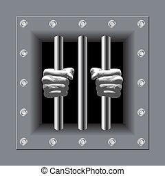 監獄 酒吧, 由于, 他的, 手