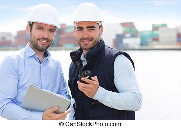 監督人, 數据, 容器, 船塢, 檢查, 工人