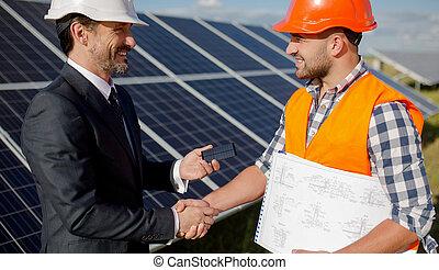 監督, ビジネス, エネルギー, クライアント, 太陽, 駅, 動揺, 手
