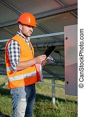 監督, 取付け, 点検, プロセス, 太陽, panels.