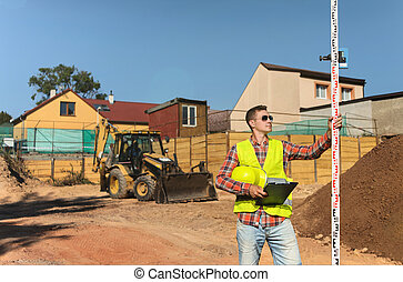 監督, 彼の, クリップボード, 建設, 背景, hands.