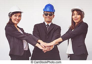 監督, 概念, 若い, チームワーク, 座標, hands.