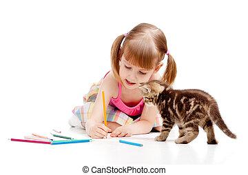 監視, ねこ, 子供, 小さい, 女の子, 図画