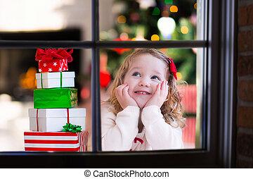 監視, イブ, 窓, 子供, クリスマス, から